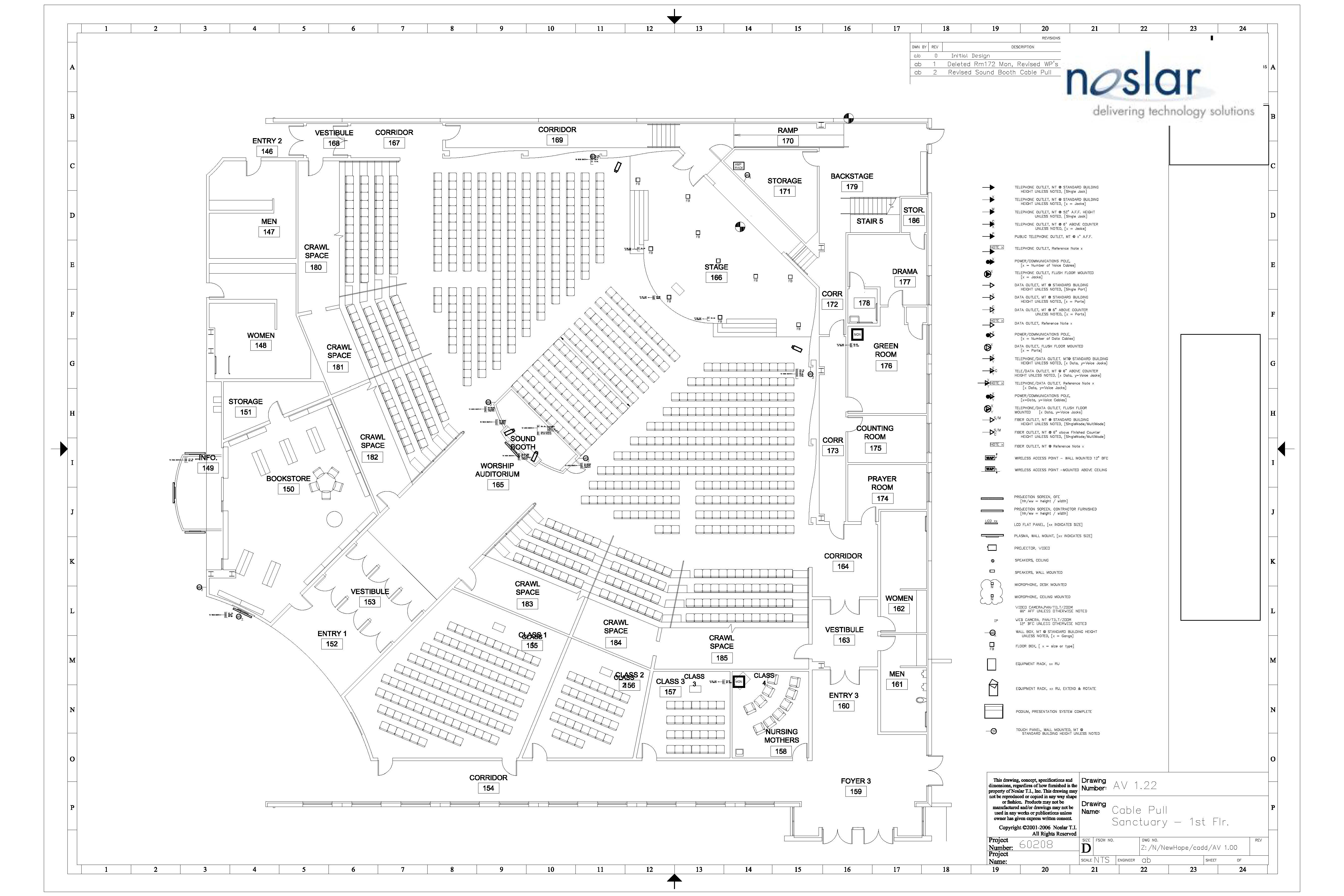 Noslar sample of house of worship technology drawing plan view- Church video audio control and lighting